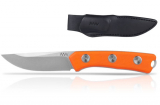 ANV Knives P200 - STONEWASH, PLAIN EDGE, ORANGE GRIP, LEATHER SHEATH