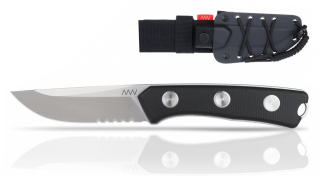 ANV Knives P200 - SERRATED EDGE, KYDEX SHEATH BLACK